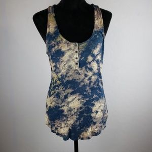 FREE PEOPLE Navy Tie Die Button Front Racerback